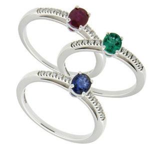 J'Or anello con rubino in oro bianco 15025r